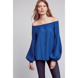 Anthro Floreat Poppy Bell Sleeve Off Shoulder Top
